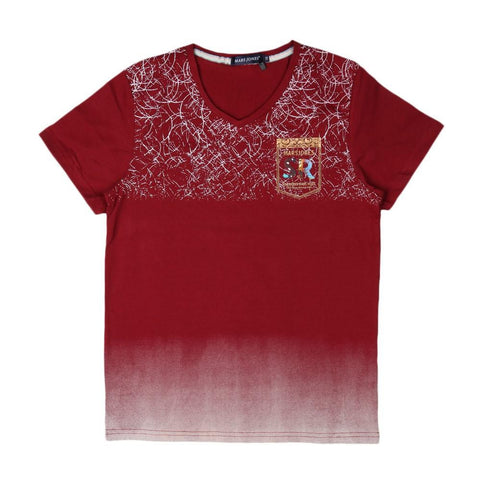 Boys V-Neck T-Shirt - Maroon - test-store-for-chase-value