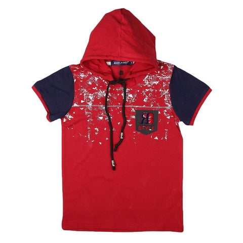 Boys Hooded T-Shirt - Maroon - test-store-for-chase-value