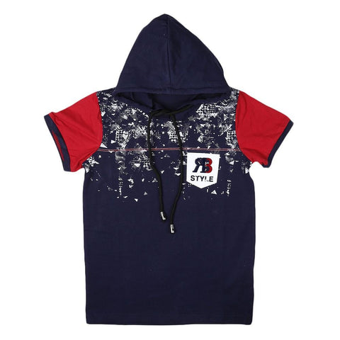 Boys Hooded T-Shirt - Navy-Blue - Navy/Blue - test-store-for-chase-value