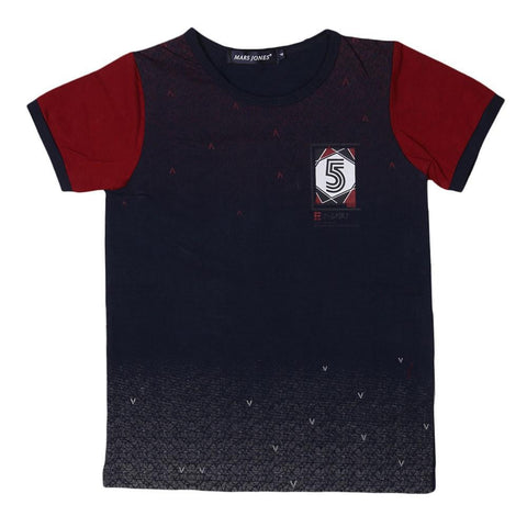 Boys Round Neck T-Shirt - Navy-Blue - Navy/Blue - test-store-for-chase-value