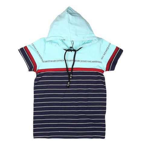 Boys Hooded T-Shirt - Cyan - test-store-for-chase-value