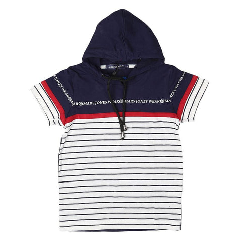 Boys Hooded T-Shirt - Navy Blue - Navy/Blue - test-store-for-chase-value
