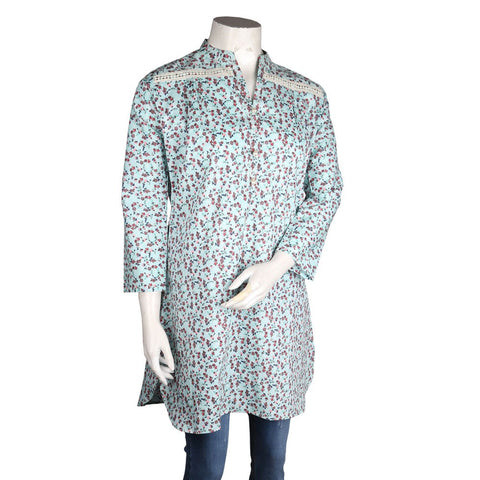 Women's Cotton Kurti - Cyan - test-store-for-chase-value