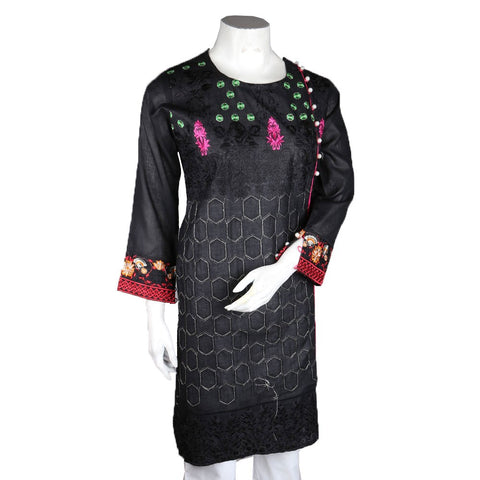 Women's Embroidered Kurti - Black - test-store-for-chase-value