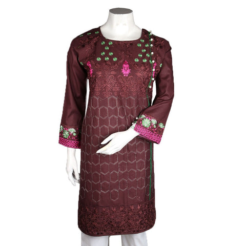 Women's Embroidered Kurti - Brown - Coffee - test-store-for-chase-value