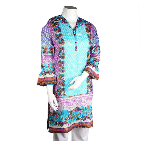 Women's Printed Lawn Kurti - Blue - test-store-for-chase-value
