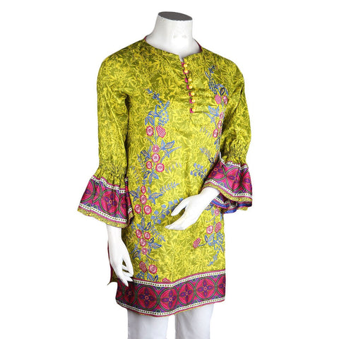 Women's Embroidered Lawn Kurti - Green - test-store-for-chase-value
