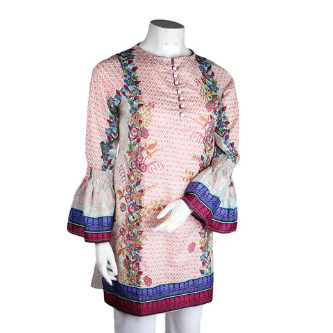 Women's Embroidered Lawn Kurti - Pink - test-store-for-chase-value