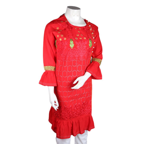 Women's Embroidered Kurti - Red - test-store-for-chase-value