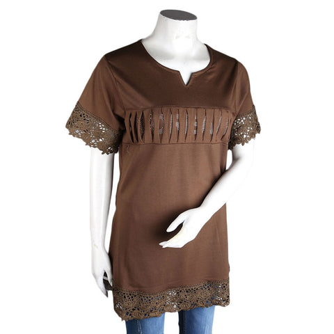 Women's Frill Stone T-Shirt - Brown - Coffee - test-store-for-chase-value