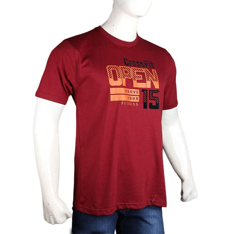 Men's Round Neck T-Shirt - Maroon - test-store-for-chase-value