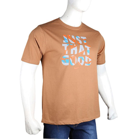 Men's Round Neck T-Shirt - Camel - test-store-for-chase-value