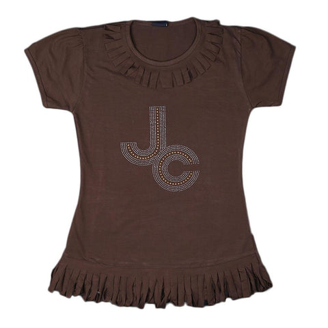Girls Frill Long T-Shirt -Brown - Coffee - test-store-for-chase-value