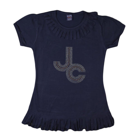 Girls Frill Long T-Shirt - Navy-Blue - Navy/Blue - test-store-for-chase-value