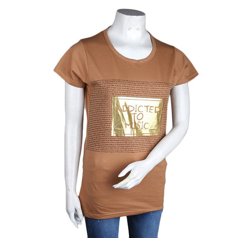 Women's Printed T-Shirt - Light-Brown - test-store-for-chase-value
