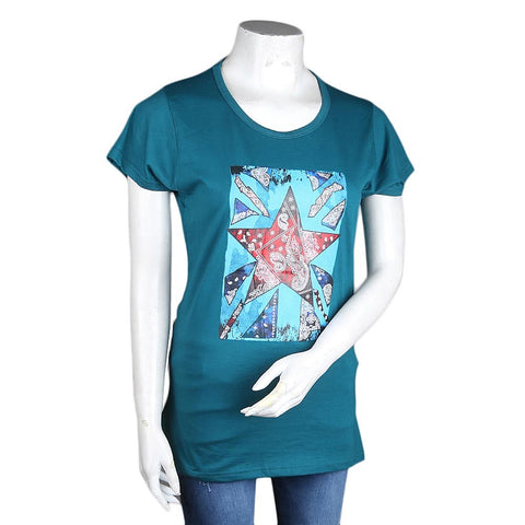 Women's Printed T-Shirt - Green - test-store-for-chase-value