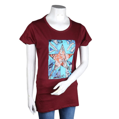 Women's Printed T-Shirt - Maroon - test-store-for-chase-value