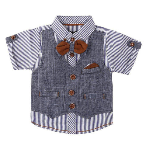 Newborn Boys Eminent Waiscoat Shirt - Blue - test-store-for-chase-value