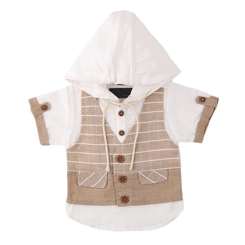 Newborn Boys Eminent Waiscoat Shirt - Beige - test-store-for-chase-value
