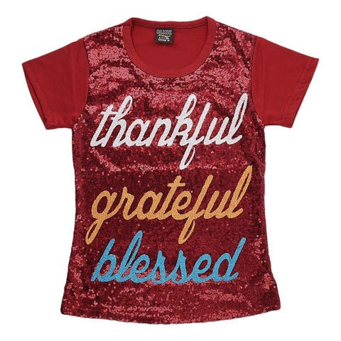 Girl's Sequins T-Shirt - Maroon - test-store-for-chase-value