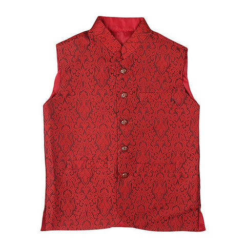 Boys Jamawar Waistcoat - Red - test-store-for-chase-value