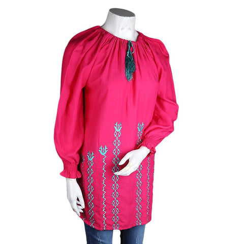 Women's Loose Fit Embroidered Kurti - Pink - test-store-for-chase-value