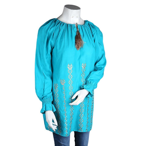 Women's Loose Fit Embroidered Kurti - Sea-Green - test-store-for-chase-value
