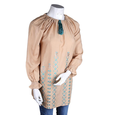 Women's Loose Fit Embroidered Kurti - Beige - test-store-for-chase-value