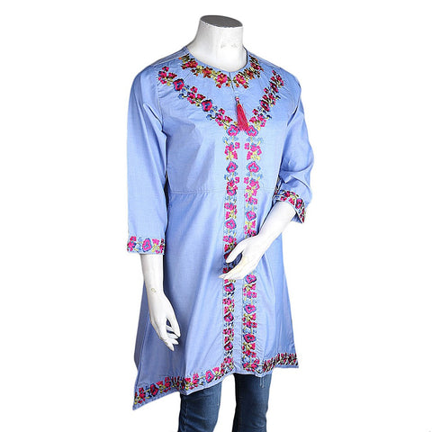 Women's Embroidered Kurti - Light-Blue - test-store-for-chase-value