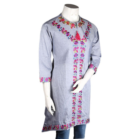 Women's Embroidered Kurti - Light-Grey - test-store-for-chase-value
