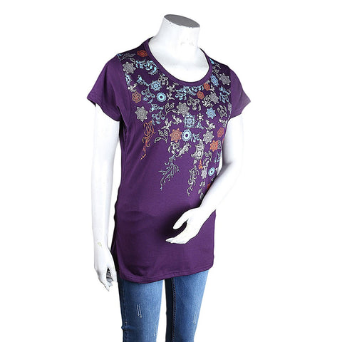 Women's Printed T-Shirt - Purple - test-store-for-chase-value