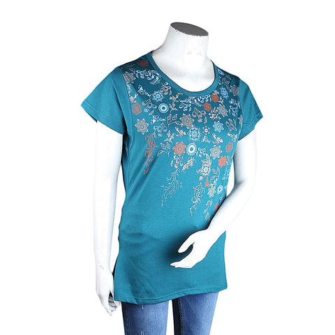 Women's Printed T-Shirt - Sea Green - test-store-for-chase-value