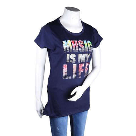 Women's Printed T-Shirt - Navy Blue - Navy/Blue - test-store-for-chase-value