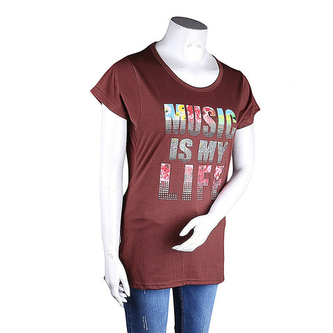 Women's Printed T-Shirt - Brown - Coffee - test-store-for-chase-value
