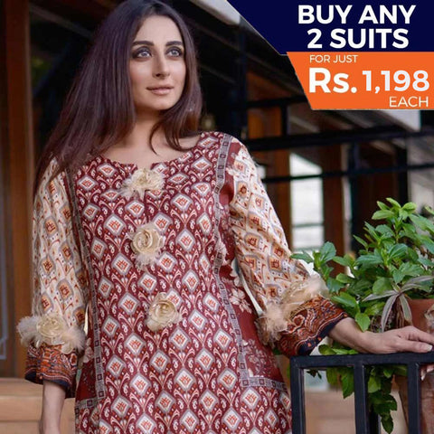 Three Star Printed Lawn 3 Piece Un-Stitched Suit Vol 1 - 8 A