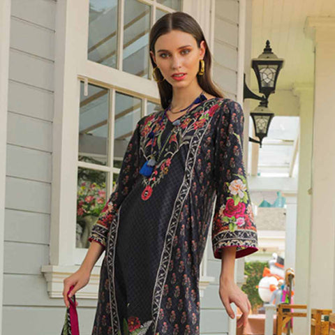 Salina Digital Printed Cotton Satin 3 Piece Un-Stitched Suit - 15