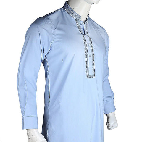 Men's Embroidered Kameez Shalwar - Blue - test-store-for-chase-value