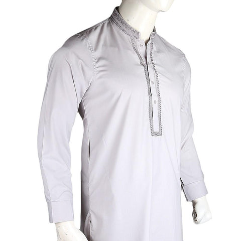 Men's Embroidered Kameez Shalwar - Grey - test-store-for-chase-value
