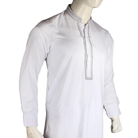Men's Embroidered Kameez Shalwar - White - test-store-for-chase-value