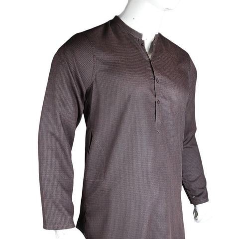 Men's Basic Slim Fit Kurta - Brown - Coffee - test-store-for-chase-value