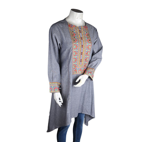 Women's Embroidered A-Line Kurti - Light-Grey - Light Grey - test-store-for-chase-value