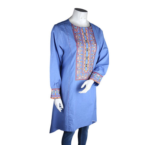 Women's Embroidered A-Line Kurti - Blue - test-store-for-chase-value