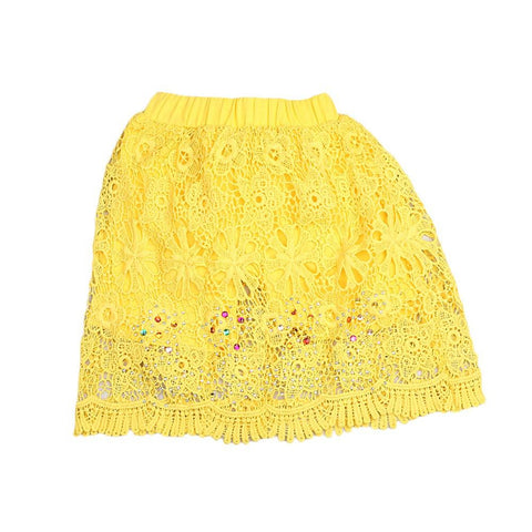 Girls Fancy Cotton Net Skirt - Yellow - test-store-for-chase-value