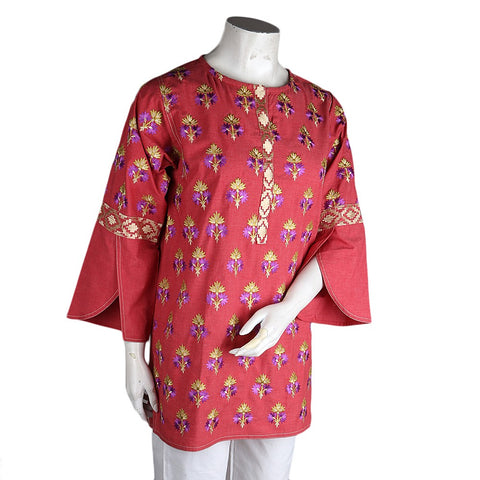 Women's Eminent Embroidered Short Kurti - Peach - test-store-for-chase-value