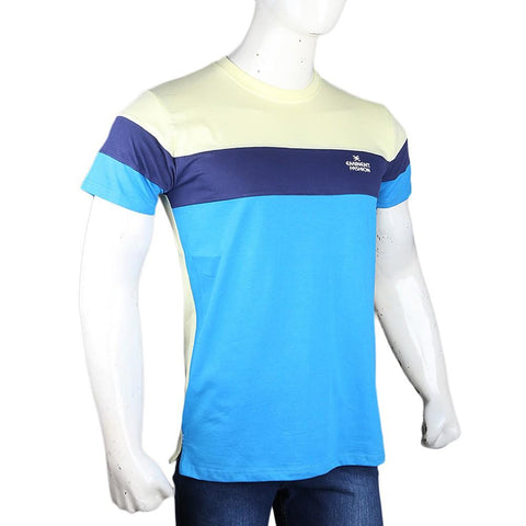 Men's Eminent Round Neck T-Shirt - Blue & Yellow - test-store-for-chase-value
