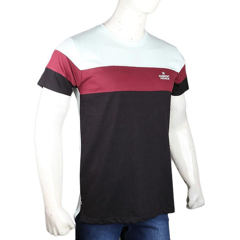 Men's Eminent Round Neck T-Shirt - Light Green & Maroon - test-store-for-chase-value