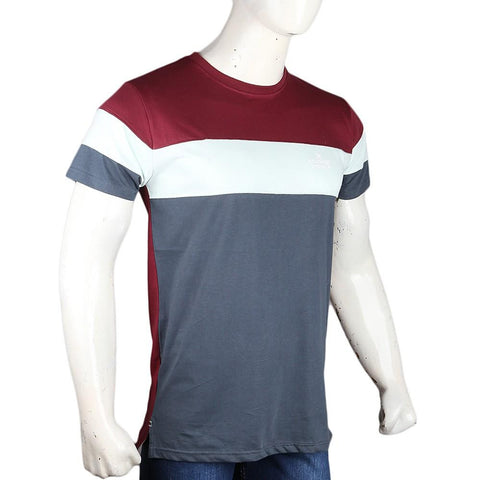 Men's Eminent Round Neck T-Shirt - Maroon & Grey - test-store-for-chase-value
