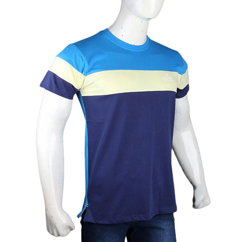 Men's Eminent Round Neck T-Shirt - Yellow & Navy Blue - test-store-for-chase-value