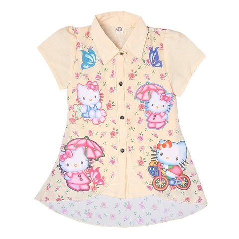 Hello Kitty Girls Printed 2 Piece Shirt - Cream - test-store-for-chase-value