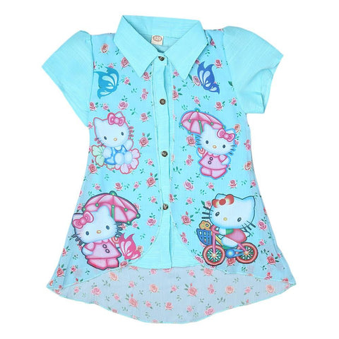 Hello Kitty Girls Printed 2 Piece Shirt - Light Blue - test-store-for-chase-value